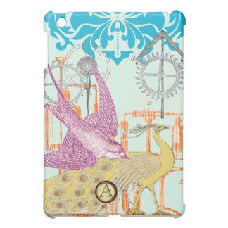 Monogram Orange Aqua Steam Punk iPad Mini Case