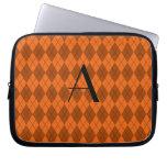 Monogram orange argyle computer sleeves