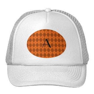 Monogram orange argyle trucker hat