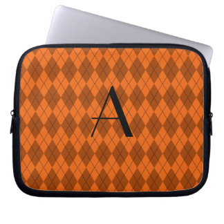 Monogram orange argyle laptop sleeve
