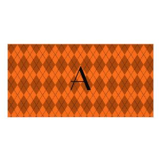 Monogram orange argyle personalized photo card
