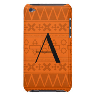 Monogram orange aztec pattern Case-Mate iPod touch case