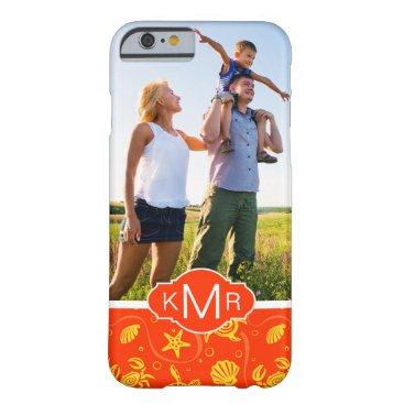 Beach Themed Monogram | Orange Beach Pattern Barely There iPhone 6 Case