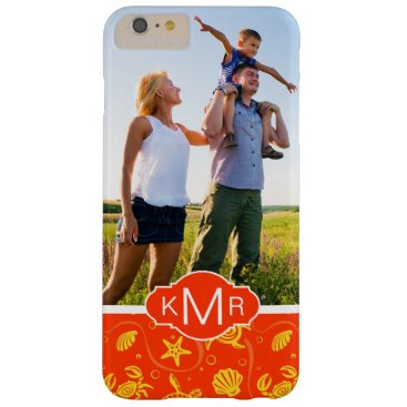Beach Themed Monogram | Orange Beach Pattern Barely There iPhone 6 Plus Case