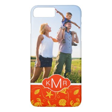 Beach Themed Monogram | Orange Beach Pattern iPhone 7 Plus Case