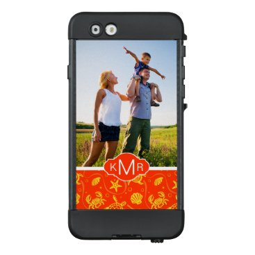 Beach Themed Monogram | Orange Beach Pattern LifeProof NÜÜD iPhone 6 Case