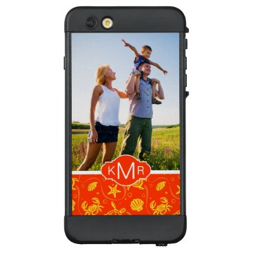 Beach Themed Monogram | Orange Beach Pattern LifeProof NÜÜD iPhone 6 Plus Case