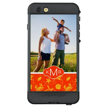 Beach Themed Monogram | Orange Beach Pattern LifeProof NÜÜD iPhone 6s Plus Case