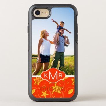 Beach Themed Monogram | Orange Beach Pattern OtterBox Symmetry iPhone 7 Case