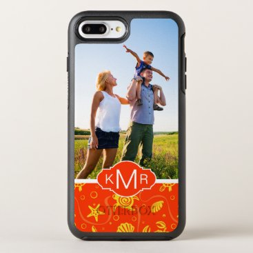 Beach Themed Monogram | Orange Beach Pattern OtterBox Symmetry iPhone 7 Plus Case