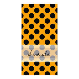 Monogram Orange Black Cute Chic Polka Dot Pattern Card