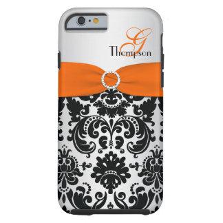 Monogram Orange Black Silver Damask iPhone 6 case