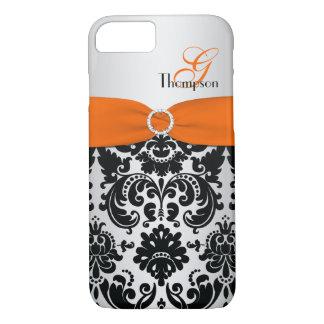 Monogram Orange Black Silver Damask iPhone 7 Case