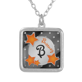 Monogram Orange, Black, Silver Stars Necklace