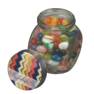 Monogram Orange Blue Chevron Geo Designs Color Jelly Belly Candy Jar