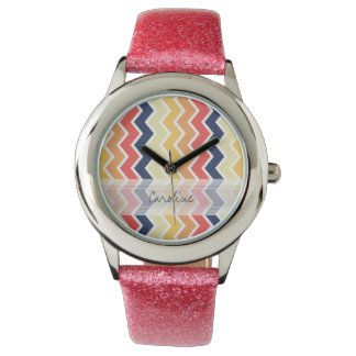 Monogram Orange Blue Chevron Geo Designs Color Watches