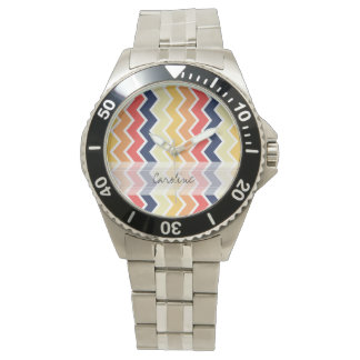 Monogram Orange Blue Chevron Geo Designs Color Wristwatch