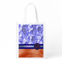 Monogram Orange Blue Custom Reusable Grocery Bag