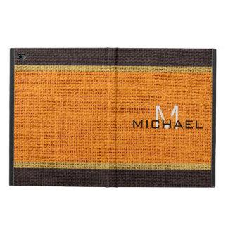Monogram Orange Burlap Linen Rustic Jute Powis iPad Air 2 Case