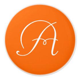 Monogram Orange Ceramic Knob