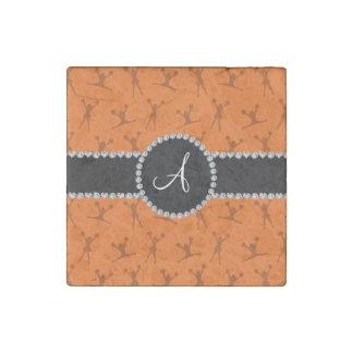 Monogram orange cheerleading black circle stone magnet