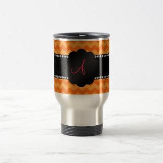 Monogram orange chevrons travel mug