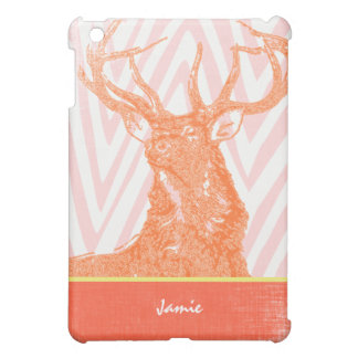 Monogram Orange Coral Zig Zag Deer iPad Mini Case