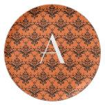 Monogram orange damask dinner plate
