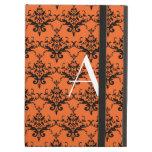 Monogram orange damask iPad cover