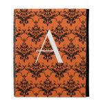 Monogram orange damask iPad folio case