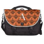 Monogram orange damask laptop messenger bag