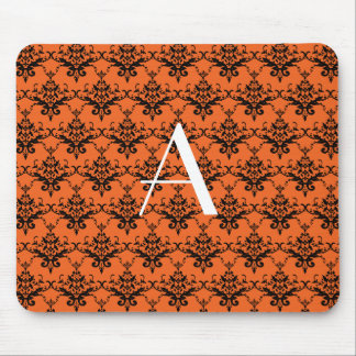 Monogram orange damask mouse pad