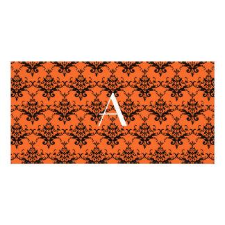 Monogram orange damask photo card