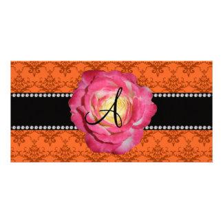 Monogram orange damask pink rose photo card