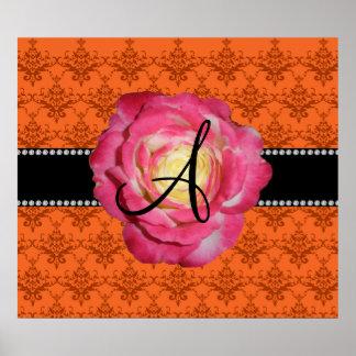 Monogram orange damask pink rose poster