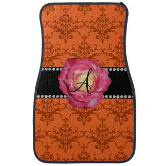 Monogram orange damask pink rose floor mat