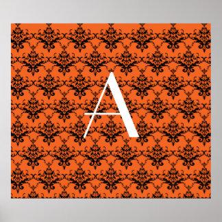 Monogram orange damask poster