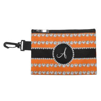 Monogram orange diamond hearts stripes accessories bag