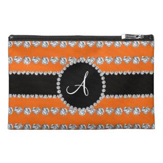 Monogram orange diamond hearts stripes travel accessories bag