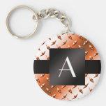 Monogram Orange diamond steel plate pattern Basic Round Button Keychain