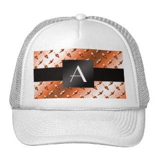 Monogram Orange diamond steel plate pattern Hats