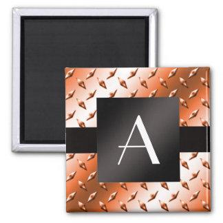 Monogram Orange diamond steel plate pattern Magnet
