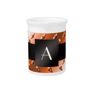Monogram Orange diamond steel plate pattern Drink Pitchers