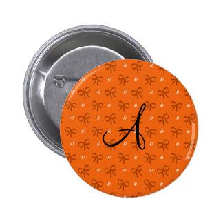 Monogram orange diamonds and bows 2 inch round button