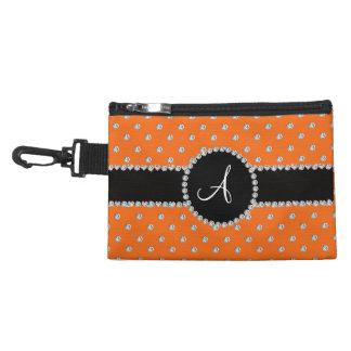Monogram orange diamonds polka dots accessories bag