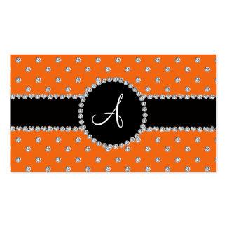 Monogram orange diamonds polka dots business card templates