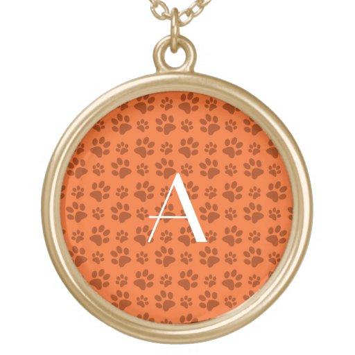Monogram orange dog paw prints custom jewelry