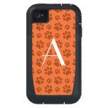 Monogram orange dog paw prints iPhone4 case