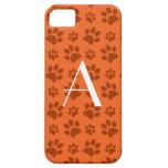 Monogram orange dog paw prints iPhone 5 case