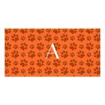Monogram orange dog paw prints customized photo card